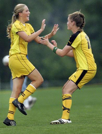 Jade Grimm and Katherine Lewis celebrate a goal during the 2007 state soccer tournament. The University of Iowa recruits are seniors now and spearheading a Cedar Rapids Kennedy team that is unbeaten, top-ranked and dominant. (Photo by Brian Ray)