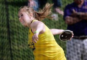 Iowa City West's Courtney Fritz was the girls' Class 4A discus champion at the state track meet Thursday at Drake Stadium in Des Moines. (Photo by Brian Ray)