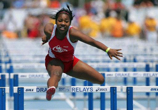 Mariah Jordan of Iowa City High won the Class 4A girls' 100-meter hurdles title at the state track meet Saturday. (Photo by Brian Ray)